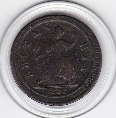 1721   King  George    Half Penny   Copper  Coin