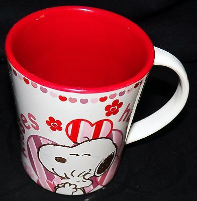 Peanuts Snoopy Beagle Hugs and Kisses Valentines Day 16 oz Gibson Coffee Mug Cup