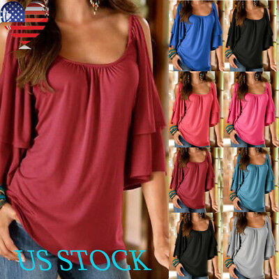 Womens Cold Shoulder Blouse Half Sleeve Tee Round Neck Loose Casual Tops T Shirt