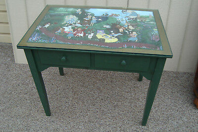00001 Hand Painted Custom made Alice in Wonderland Console Table Desk