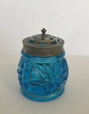 Antique Individual Salt Shaker Cut Glass Turquoise With Metal Lid