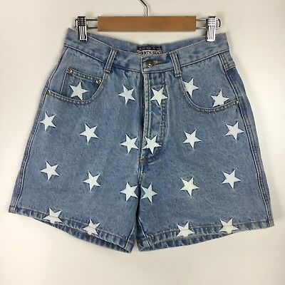 Nuovo Woman's Vintage White Star Embroidered High Waisted Jean Shorts Size 7 / 8