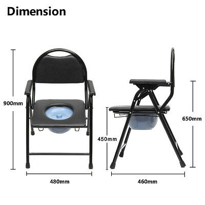 AU! Folding Bedside Bathroom Safety Toilet Chair Commode Seat Shower Potty Chair