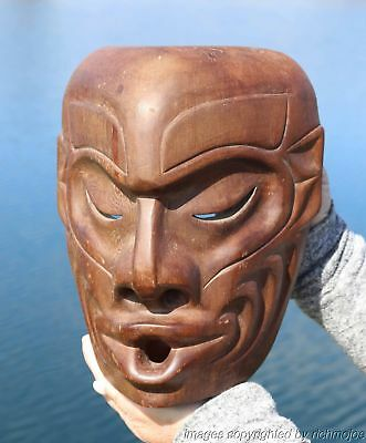 Fine Old Northwest Coast Kwakiutl Indian Wild Woman Mask Jack James C1950