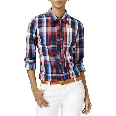 Tommy Hilfiger Womens Navy Plaid Long Sleeve Button-Down Top Blouse M BHFO 3951