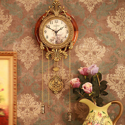 Open-box Antique Wooden Retro Style Vintage Wood Indoor Wall Clock with Pendulum
