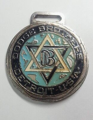 Vtg 1930's Enameled Dodge Brothers Detroit Watch Key Fob Pendant Hot Rat Rod