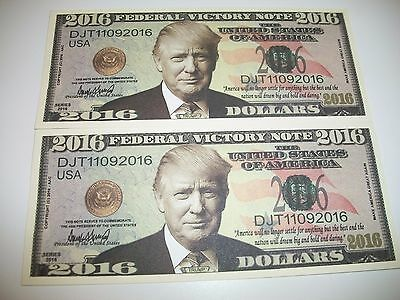 2 NEW Donald Trump President Money Fake Dollar Bills 2016 Federal Victory Note