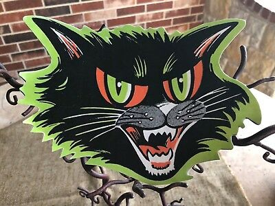 """Vintage Style Beistle Cat Face,Green, Red Eyes,Halloween Cardboard Decoration,8"""""""