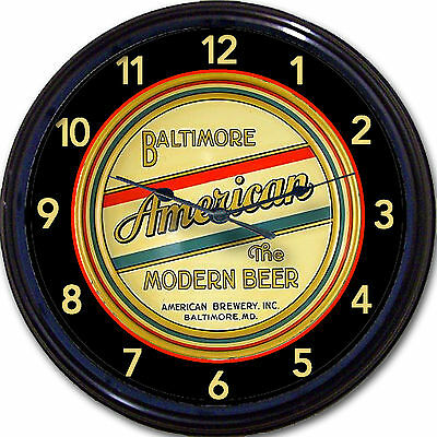 Baltimore American Brewery Beer Tray Wall Clock Baltimore MD Ale Lager Man Cave