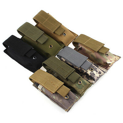 Tactical Molle Flashlight Pouch Nylon Military Torch Knife Multitool Holster Bag
