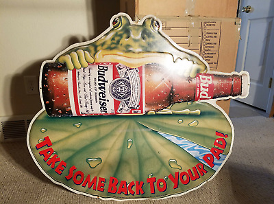 Promotional Budweiser Frog Beer Sign (Tin) - Anheuser-Busch