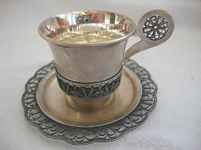 Russian Antique White Metal Delicate Filigree Demitasse Sml Coffee Cup & Saucer