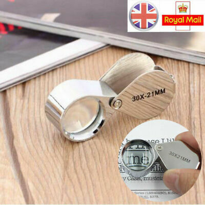 UK 1PCS 21 mm Magnifying Glass Jewellers Loupe 30X Jewellery Eye Lens Magnifier