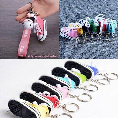 Multi-color Cool Canvas Shoes Keychain KeyRing Pendant Kids Girls Gift Present