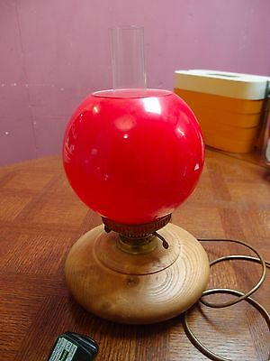 VINTAGE WOODEN REPRODUCTION of VICTORIAN OIL LAMP SOLID WOOD BASE BRASS FITTINGS