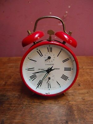 VINTAGE 1960s ALARM CLOCK by JERGER OLD TIMER RED PAINTED CASE TWO BELLS WORKING