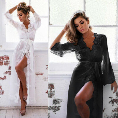 Sexy Lingerie Sleepwear Lace Dress Womens Long Bathrobe Night Gown Babydoll Robe