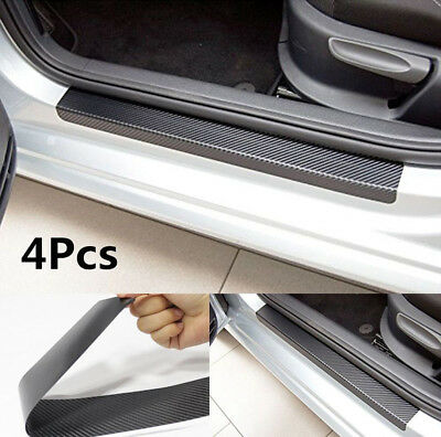 4Pcs Set Carbon Fiber Look Car Door Plate Sill Scuff Cover Sticker Anti Scratch