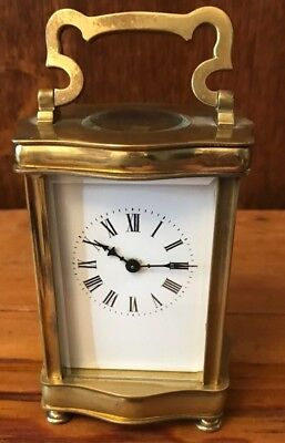 Antique French Brass Carriage Clock Unusual Serpentine Shape Working With Key