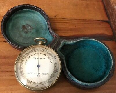 Antique Cased Pocket Barometer T.b. Winter Newcastle On Tyne