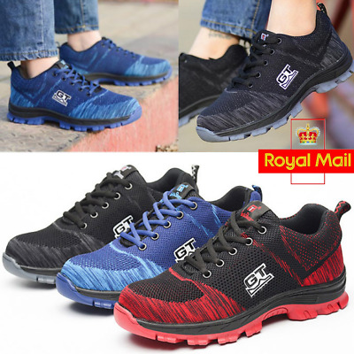 Men's Safety Shoes Steel Toe Trainers Cap Work Boots Hiking Shoes Breathable TOP