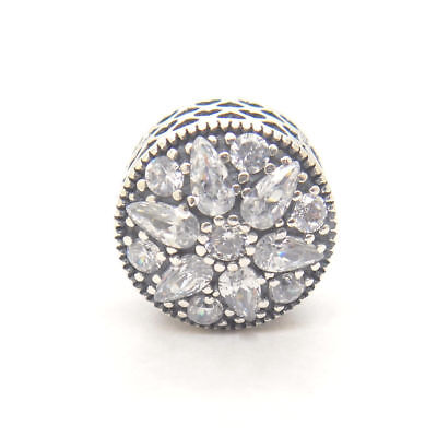 Authentic S925 Sterling Silver Radiant Bloom Crystal CZ Flower Charm Bead