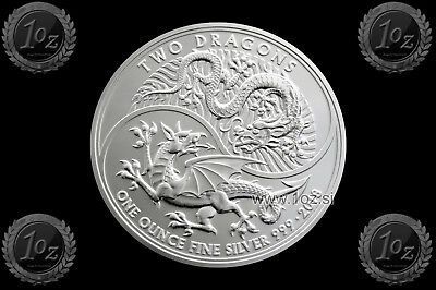 UK (GREAT BRITAIN) BRITANNIA 2 Pounds 2018 (TWO DRAGONS) SILVER 1oz coin *UNC