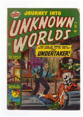 Journey into Unknown Worlds # 10  The Undertaker !  grade 3.0 scarce book !