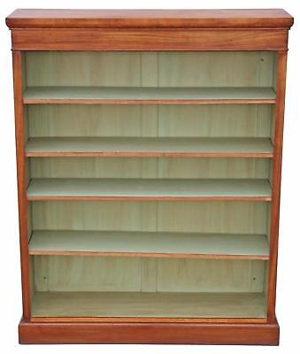 Antique quality large Victorian style walnut adjustable bookcase ~4' x 5'