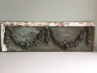 Antique French Decorative Panel 19th Century Swags Floral Green Bronze 70x22cm