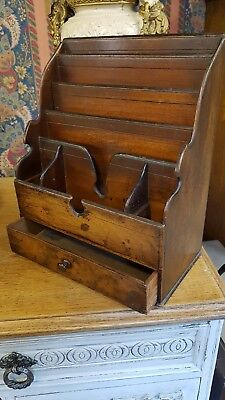Antique Victorian Mahogany Letter Rack with drawer
