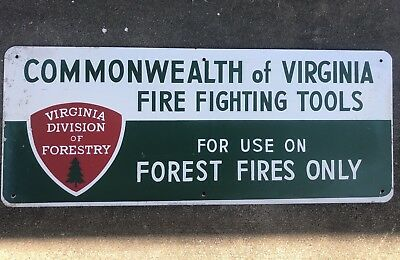 "Vintage Virginia Forestry Metal Sign 30"" X 12"" Forest Service Fire Fighting"