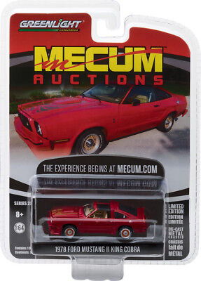 Greenlight Collectibles Mecum Auctions 1978 Ford Mustang II King Cobra Red