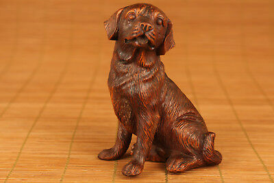 Rare bIG chinese oLD Boxwood Hand Carved Dog Statue Netsuke