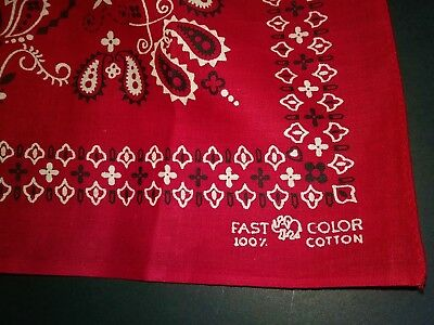 100% Cotton Fast Color Red Bandana Elephant Trunk Up Excellent Selvage