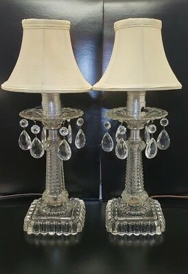 Pair Of Vintage Crystal Prism Table Lamps 14 3 4 Tall 39 23