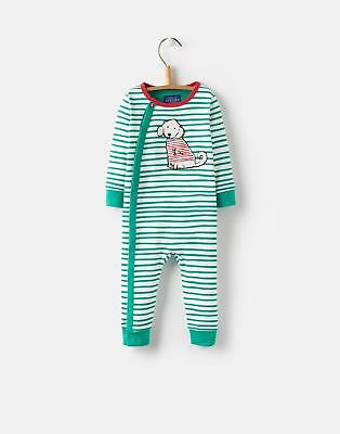 Joules 124717 Baby Boys Applique Babygrow with Contrast Back Neck Buggy in Dog