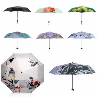 UK Fashion Compact Umbrella Anti UV Windproof 3-Folding Sun Rain Umbrella