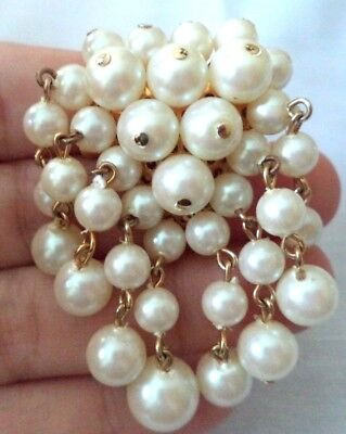"Stunning Vintage Estate Faux Pearl Dangle Gold Tone 2"" Brooch!!! G6859H"
