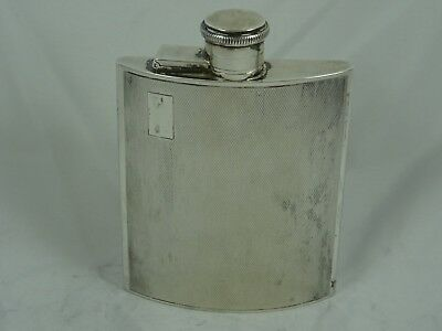 ART DECO solid silver HIP FLASK, 1940, 180gm