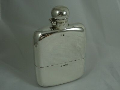 LARGE, EDWARDIAN  solid silver HIP FLASK, 1902, 281gm