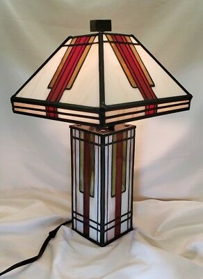 vintage small leaded glass art deco lamp Frank Lloyd Wright inspired