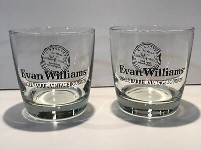 Two Evan Williams Single Barrel Bourbon Glasses - Rare Stamp