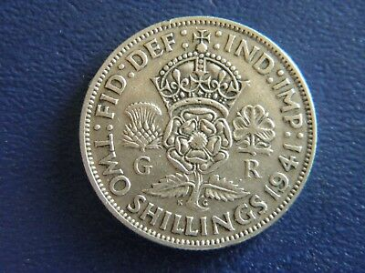 1941 WW2 British Silver Florin-2 Shillings -Good Condition-Stk#18-510