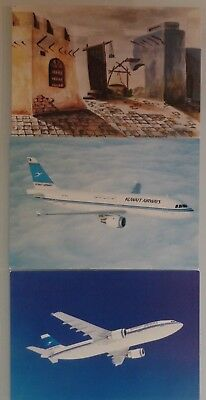 AIRLINE ISSUED POSTCARD: 3x KUWAIT AIRWAYS
