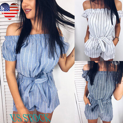Women Pleated Off Shoulder Short Sleeve Jumpsuits Waist Strappy Stripe Romper US