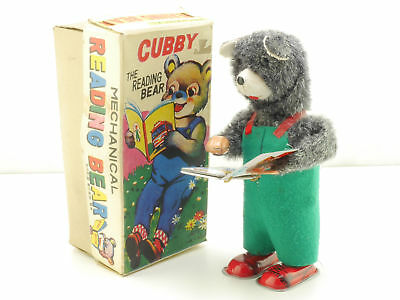 Alps Cubby The Reading Bear Wind Up Uhrwerk Tin Toy Japan MIB OVP 1605-26-08