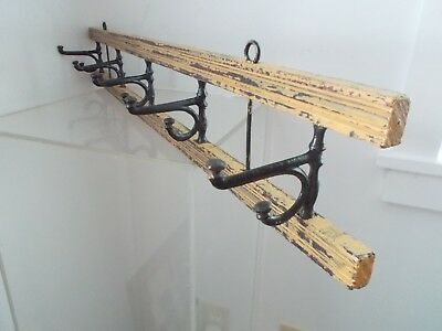Antique French County Painted Hat Coat Rack Wall Swivel Iron Hook Clothes Hanger