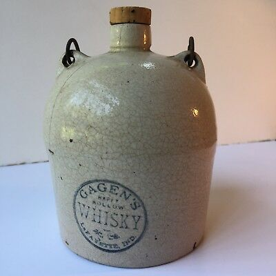 RARE Antique Gagens Happy Hollow Whisky Lafayette, IND Stoneware Jug